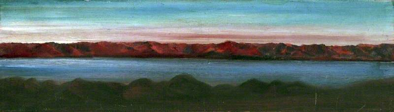 Order Museum Quality Copies | Landscape with a Lake Surrounded by Mountains and a Pink Sky, 1912 by Caroline Emily Gray Hill | WahooArt.com