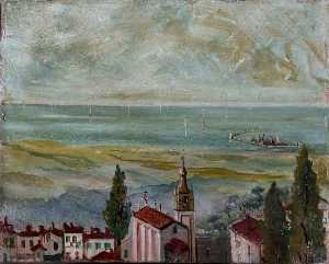 Caroline Emily Gray Hill - European Coastal Town Looking Out to Sea