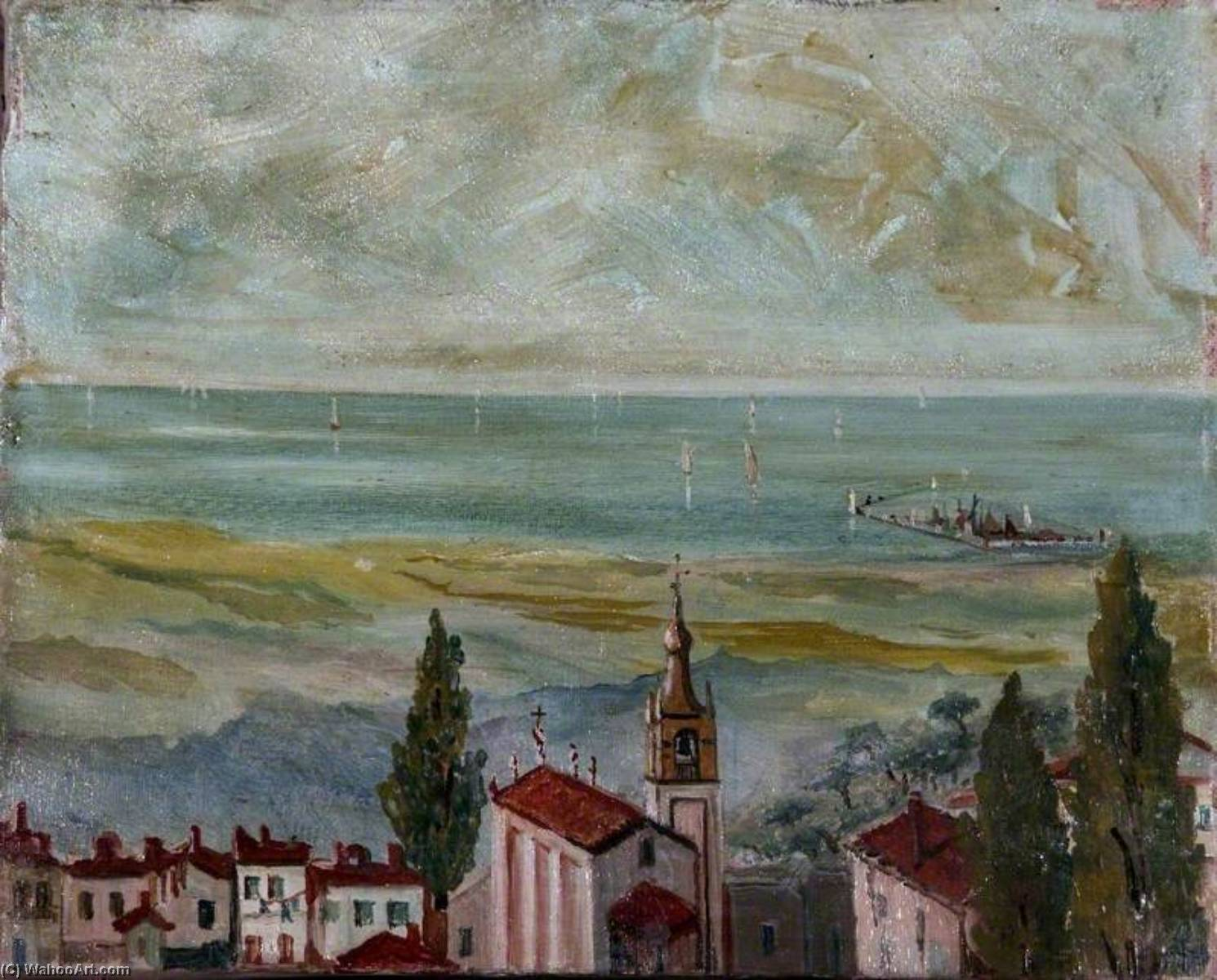 European Coastal Town Looking Out to Sea, 1912 by Caroline Emily Gray Hill | Art Reproductions Caroline Emily Gray Hill | WahooArt.com