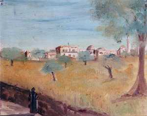Caroline Emily Gray Hill - Landscape with a Village and Olive Trees