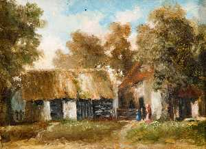 Charles Langton Lockton - Barn and Post Office Cottage by 'The White Lion'
