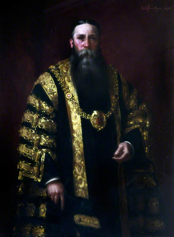 Alderman Thomas William Jacobs, Mayor of Cardiff (1887–1888), Oil On Canvas by Samuel Henry William Llewellyn