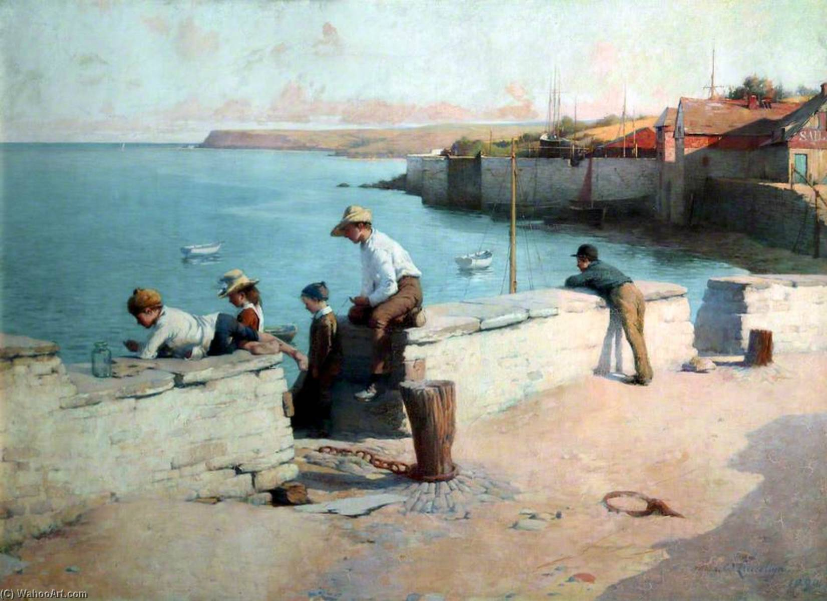 Evening at Padstow, Cornwall, Oil On Canvas by Samuel Henry William Llewellyn