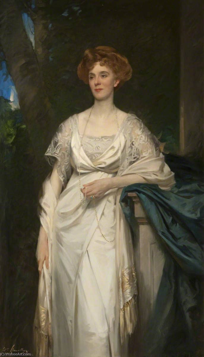 Gwendoline (d.1929), 14th Countess of Lauderdale, Oil On Canvas by Samuel Henry William Llewellyn