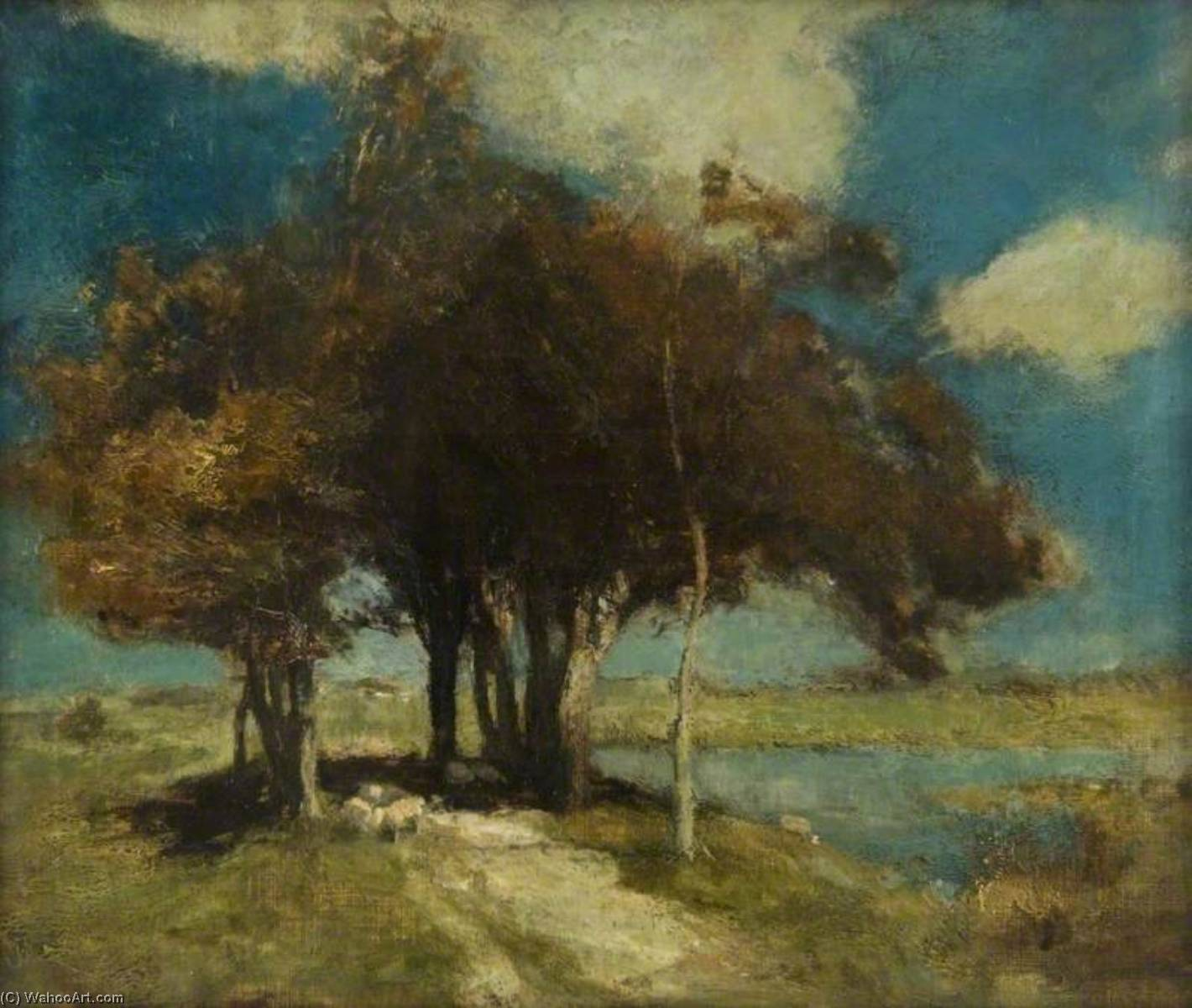 Landscape with Sheep under Trees, 1891 by Charles Hodge Mackie | WahooArt.com