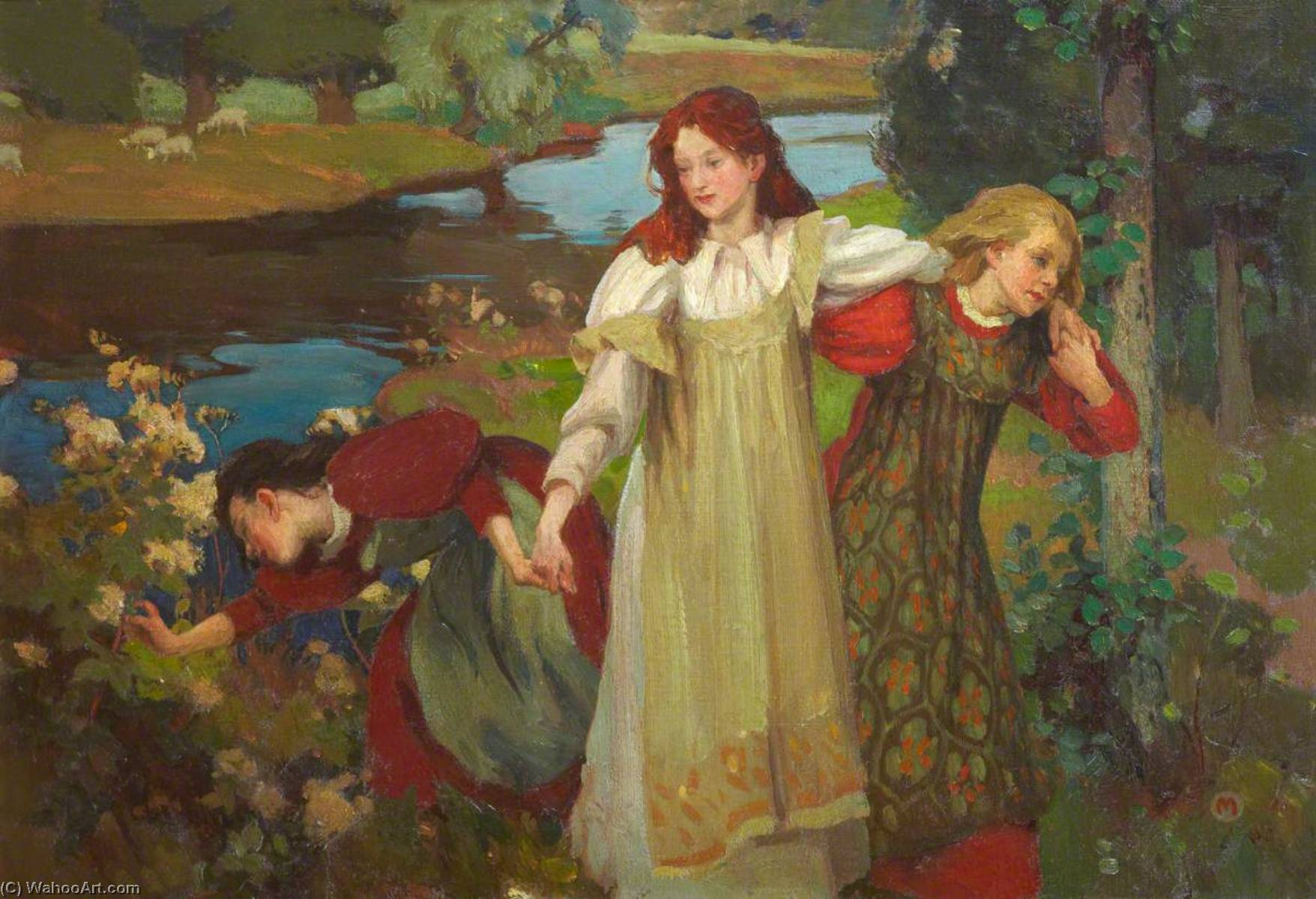 'There were three maidens pu'd a flower (by the bonnie banks o' Fordie)', Oil On Canvas by Charles Hodge Mackie
