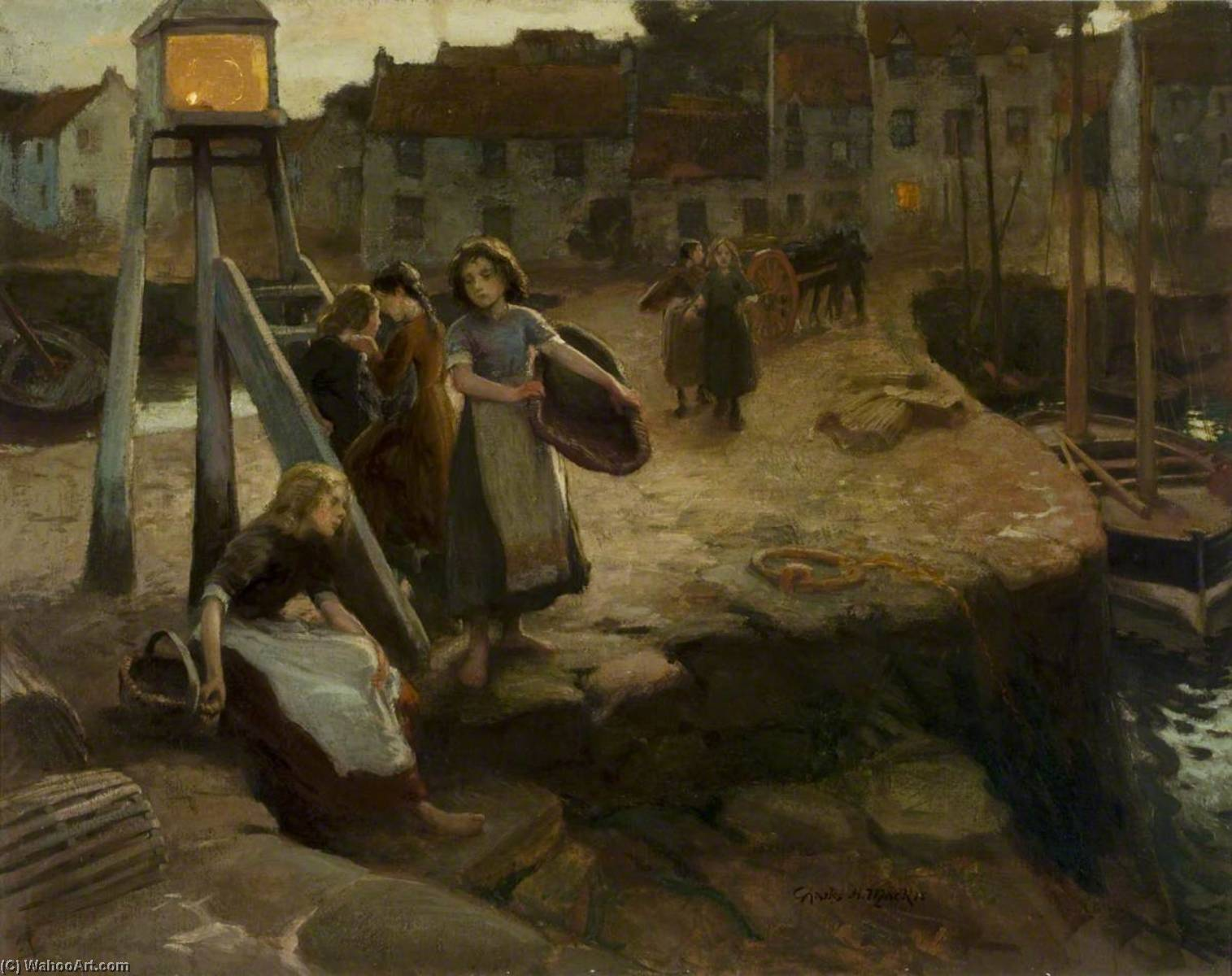 Fisher Girls Waiting for the Boats, Oil On Canvas by Charles Hodge Mackie