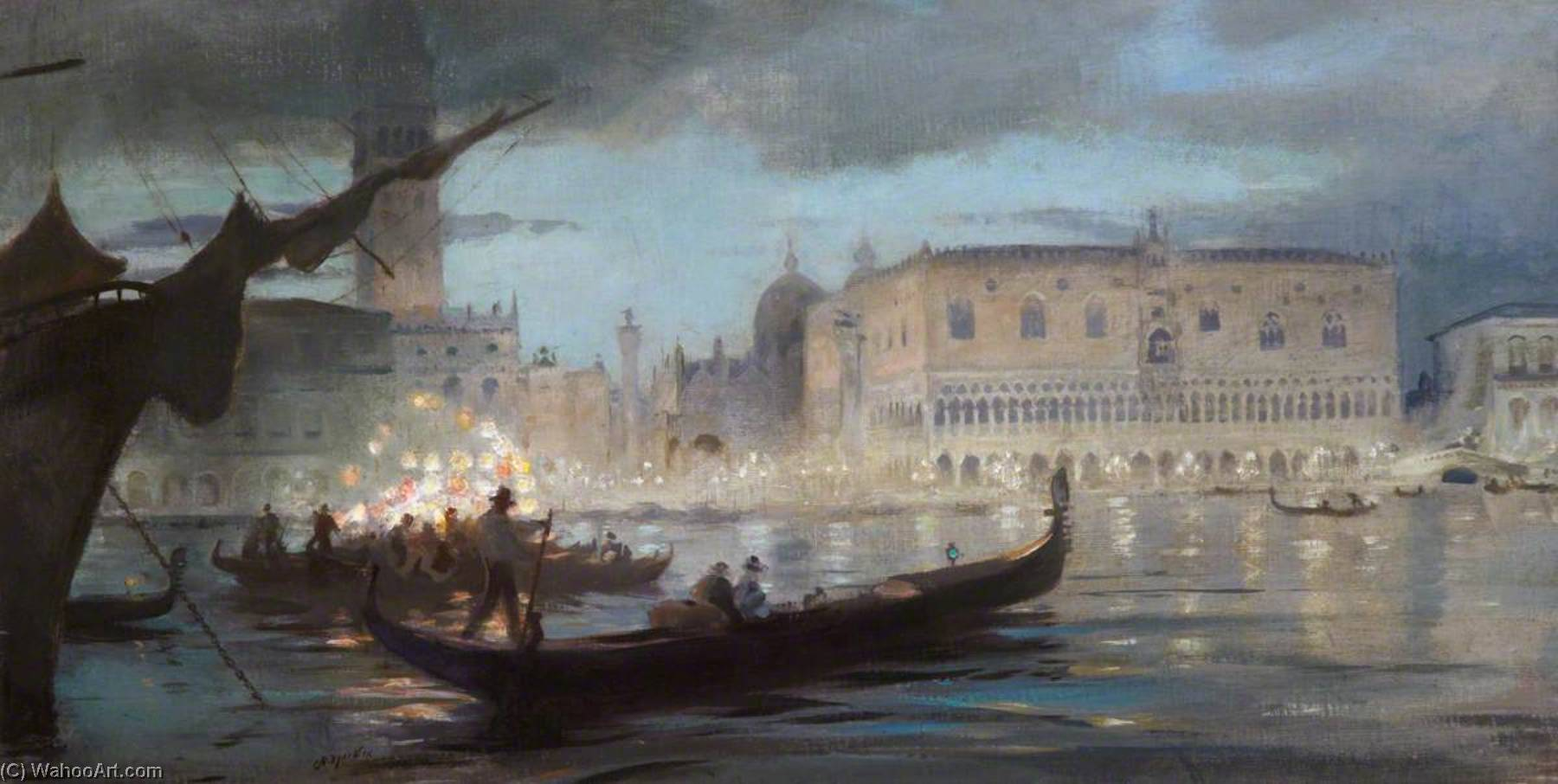 La musica veneziana, Oil On Canvas by Charles Hodge Mackie