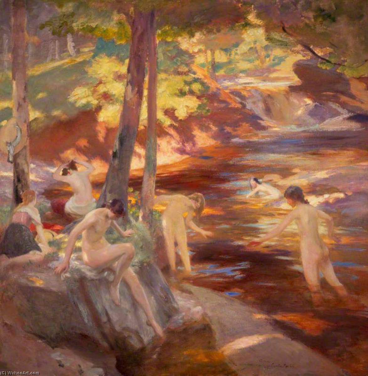 The Bathing Pool, Oil On Canvas by Charles Hodge Mackie