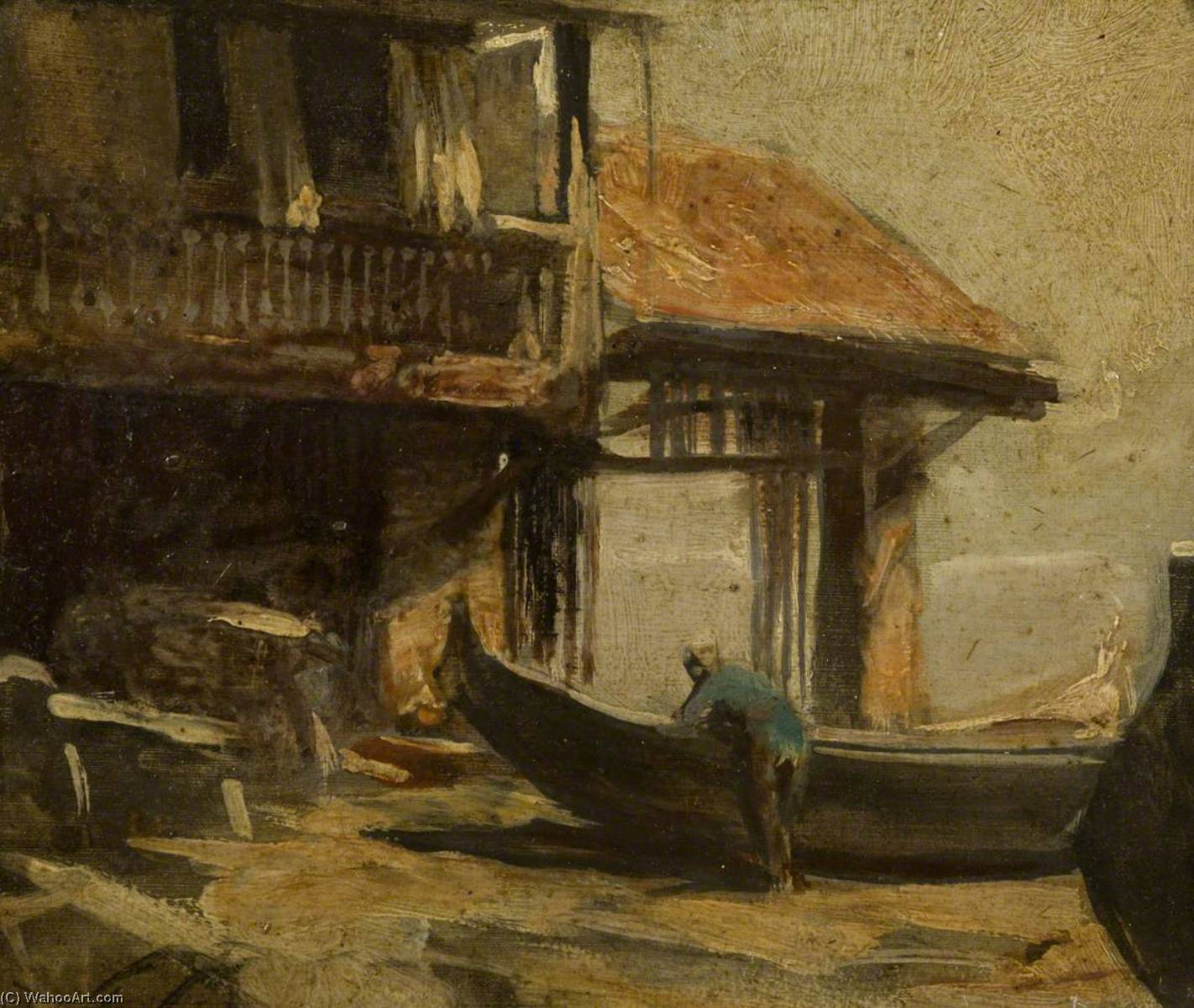A Gondola Maker`s Yard, Venice, 1909 by Charles Hodge Mackie | Museum Quality Reproductions | WahooArt.com