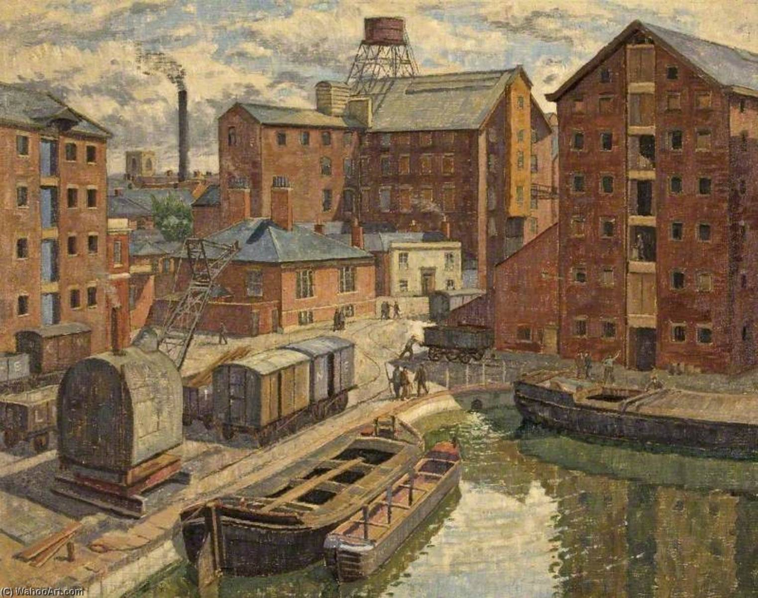 View of Gloucester Docks, 1932 by Donald Ewart Milner | Museum Quality Copies Donald Ewart Milner | WahooArt.com