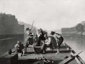 Order Art Reproductions | Raftsmen Playing Cards, (painting), 1847 by George Cale | WahooArt.com