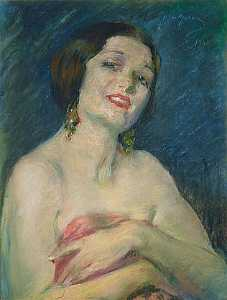 Alice Pike Barney - Model Holding Drapery, (painting)