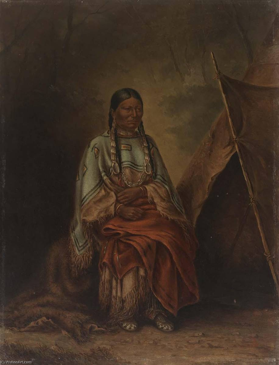 Spotted Tail`s Squaw, 1887 by Antonion Zeno Shindler | Art Reproductions Antonion Zeno Shindler | WahooArt.com