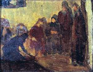 Henry Ossawa Tanner - Study, Christ Washing the Feet of the Disciples