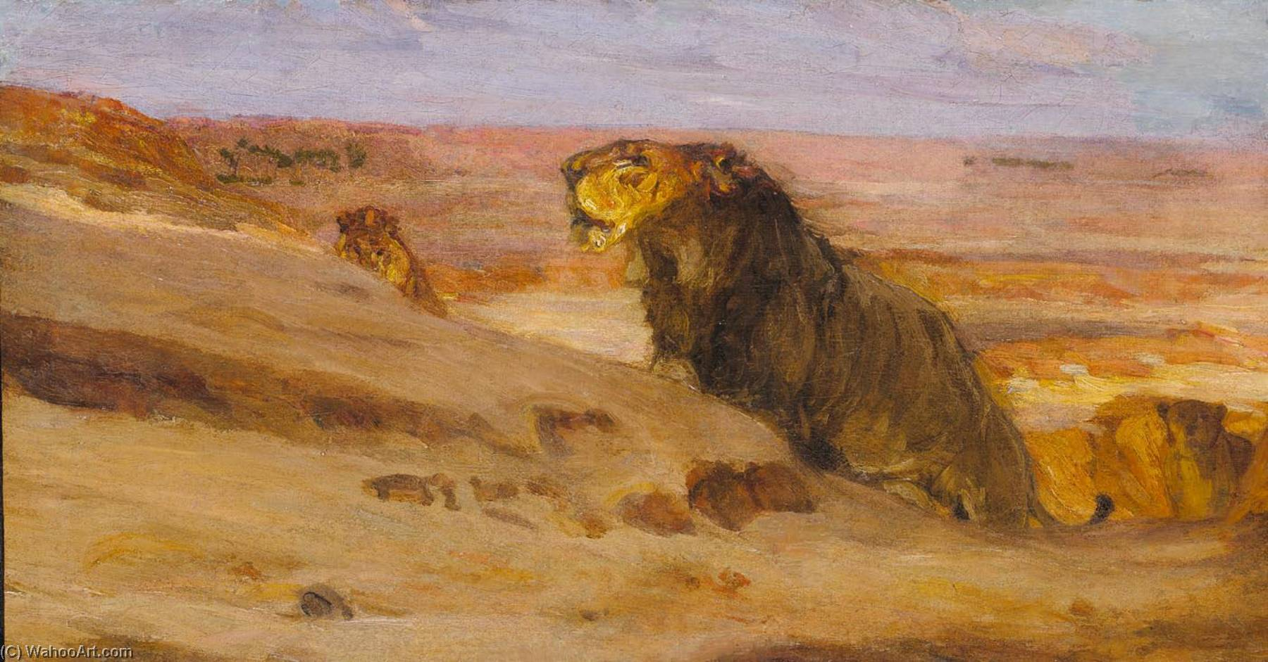 Lions in the Desert, 1900 by Henry Ossawa Tanner (1859-1937, United States) | Museum Quality Reproductions | WahooArt.com