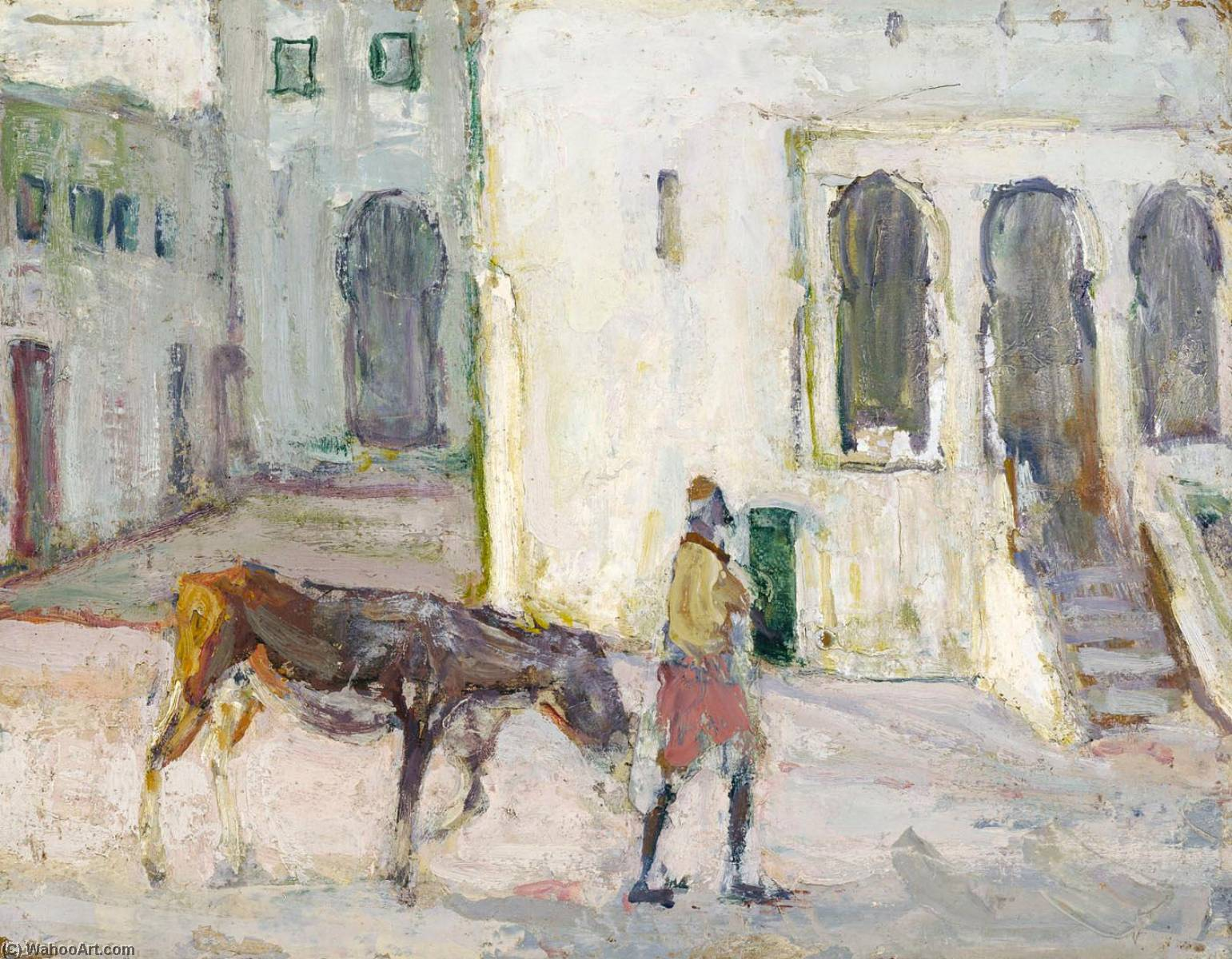 Street Scene, Tangier (Man Leading Calf), 1910 by Henry Ossawa Tanner (1859-1937, United States) | Museum Quality Reproductions | WahooArt.com