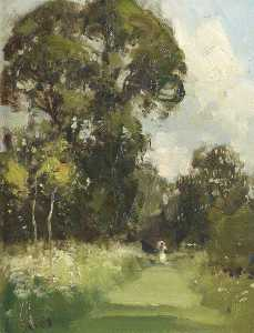 Edward Brian Seago - Anglesey Abbey Gardens, with a Lady in White on a Grass Path, Holding a Parasol