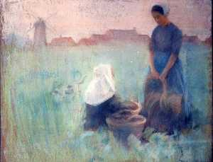 Katherine Beatrice Mcnaughton Mowry - Two Women in a Field, (painting)