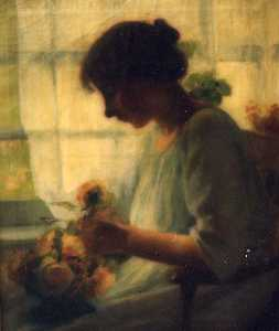 Katherine Beatrice Mcnaughton Mowry - (Seated Woman Arranging Roses), (painting)