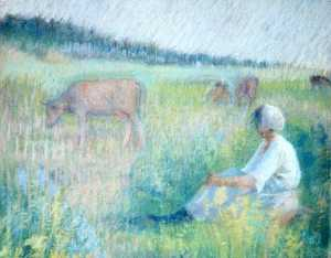 Katherine Beatrice Mcnaughton Mowry - (Woman Sitting in a Field), (painting)