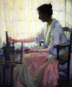 Katherine Beatrice Mcnaughton Mowry - (Woman Seated at Spinning Wheel), (painting)