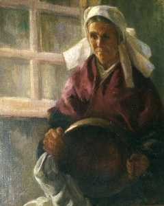 Katherine Beatrice Mcnaughton Mowry - (Peasant Woman Holding a Brass Pot), (painting)