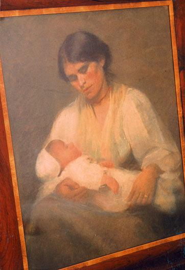 Mother and Sleeping Baby, (painting) by Katherine Beatrice Mcnaughton Mowry (1846-1931) | Art Reproduction | WahooArt.com