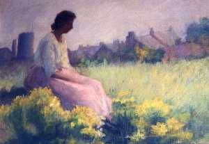 Katherine Beatrice Mcnaughton Mowry - Woman in Pink Skirt Sitting in a Field, (painting)