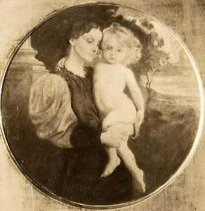 George De Forest Brush - Mother and Child (Mrs. Brush and Tribbie), (painting)