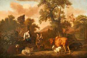 Dirck Van Den Bergen - A Landscape with an Antique Tomb with a Ruined Urn, a Herdsboy and Shepherd Girl, Cattle, Sheep, and a Goat