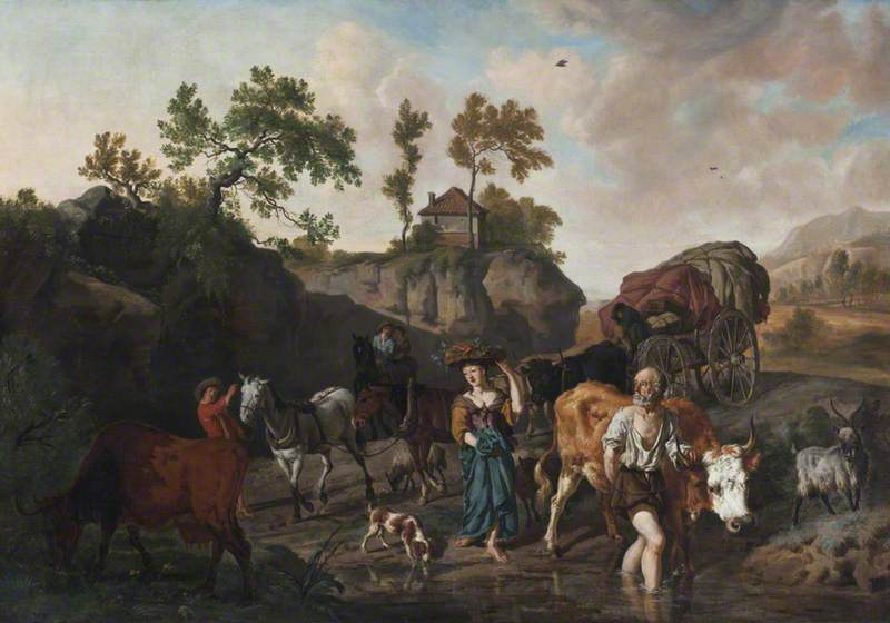 Landscape with an Old Herdsman and Young Market Girl Fording a Stream Followed by Two Horse and Carts with Grooms, 1675 by Dirck Van Den Bergen (1645-1700) | Paintings Reproductions Dirck Van Den Bergen | WahooArt.com
