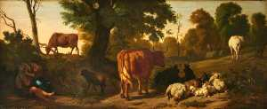 Dirck Van Den Bergen - Landscape with Cattle, Sheep, a Horse, a Goat and a Courting Couple of Rustics
