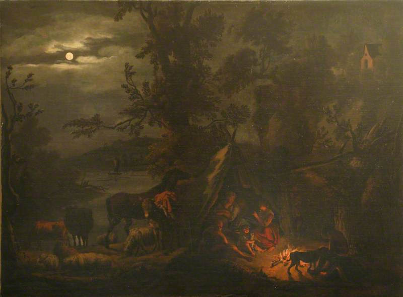 Night Scene with Figures Grouped around a Fire, 1677 by Dirck Van Den Bergen (1645-1700) | Art Reproductions Dirck Van Den Bergen | WahooArt.com