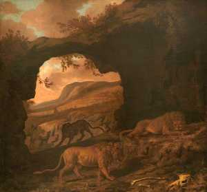 Dirck Van Den Bergen - A Pair of Lions with a Leopard in a Cave