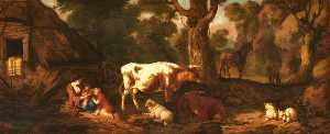 Dirck Van Den Bergen - A Mother with Two Children, Two Cows, Sheep, and an Ass, in a Clearing outside a Cottage