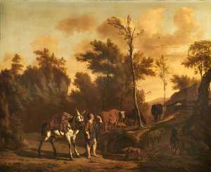 Dirck Van Den Bergen - Landscape with a Herdsman Leading a Staling Mule, a Goat, Dog, Cattle and Sheep