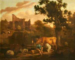 Dirck Van Den Bergen - Landscape with Ruins, a Tomb, Herdsfolk, Sheep and Goats