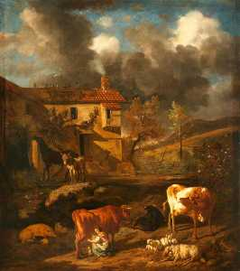 Dirck Van Den Bergen - Landscape with a Milkmaid Milking a Cow, a Farm Dwelling, Cows, Sheep and a Donkey