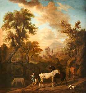 Dirck Van Den Bergen - Landscape with Figures, Horses and a Dog, and Ruins in the Distance