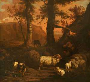 Dirck Van Den Bergen - A Landscape with a Shepherd under an Awning Surrounded by Sheep and a Goat