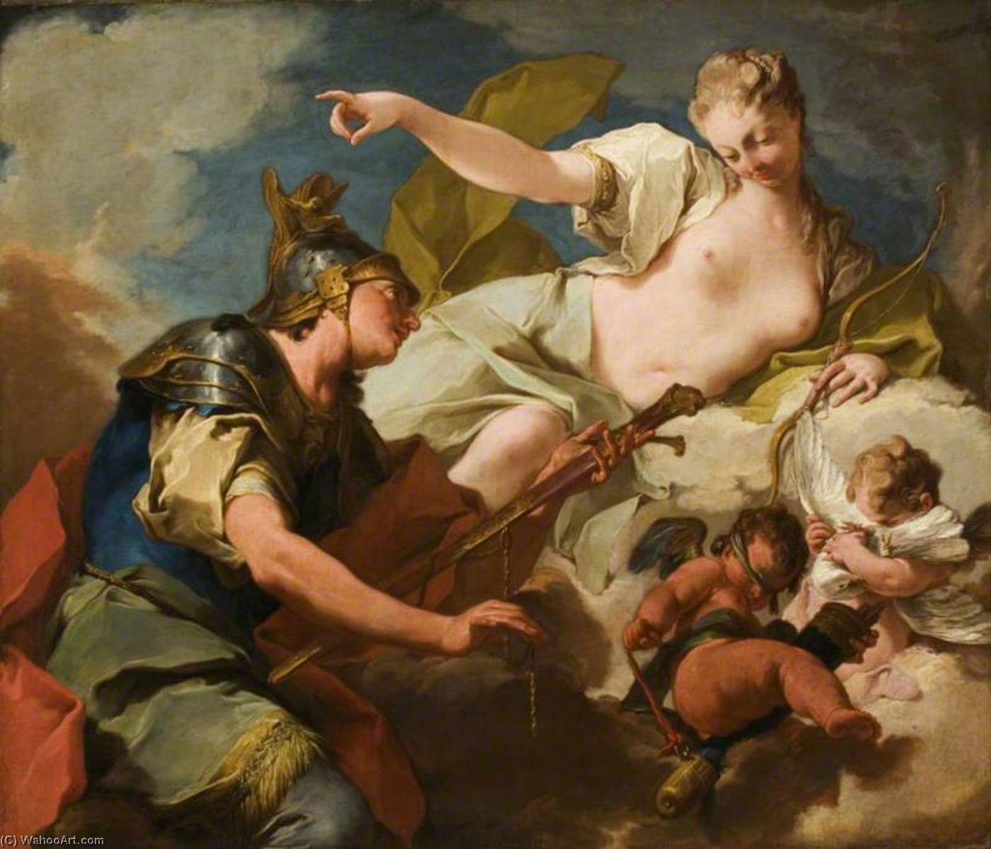 Venus Giving Armour to Aeneas, Oil On Canvas by Giovanni Battista Pittoni (2007-1770, Italy)