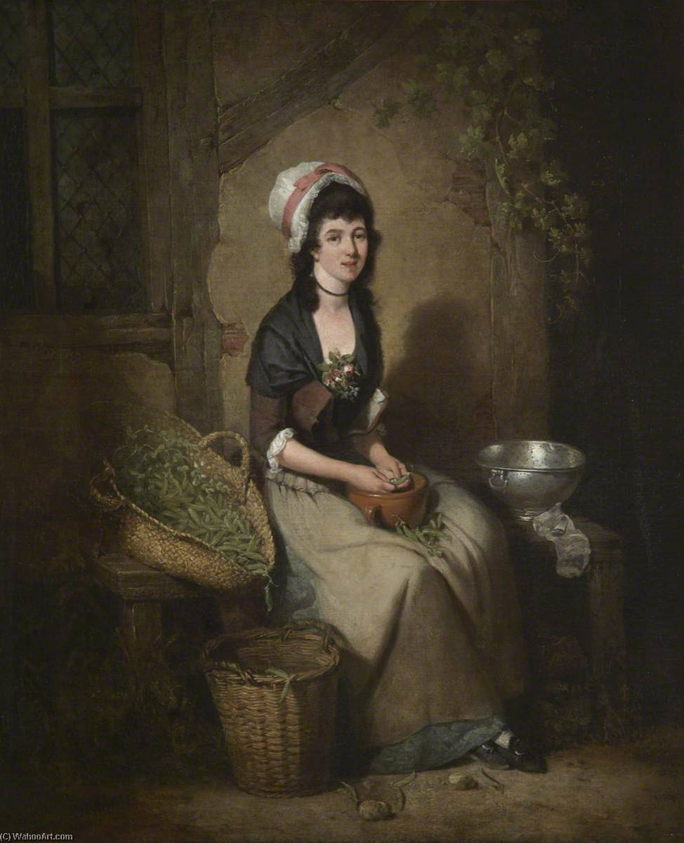 A Girl Shelling Peas, 1782 by William Redmore Bigg | Painting Copy | WahooArt.com