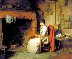 William Redmore Bigg - A Cottage Interior An Old Woman Preparing Tea