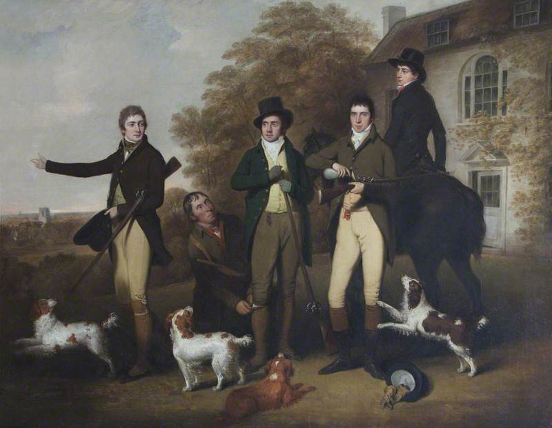 A Shooting Party of Captain William Lukin (1768–1833), and His Brothers at Felbrigg Parsonage, 1803 by William Redmore Bigg | Museum Quality Reproductions | WahooArt.com