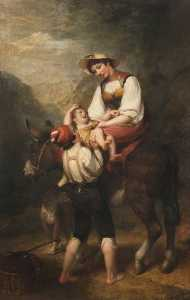 Henry Howard - Woman on an Ass, with Children