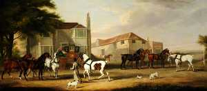 William Henry Davis - Changing Horses, the Exeter to London Mail Sir Henry Paton, Bt, Leading the Horse
