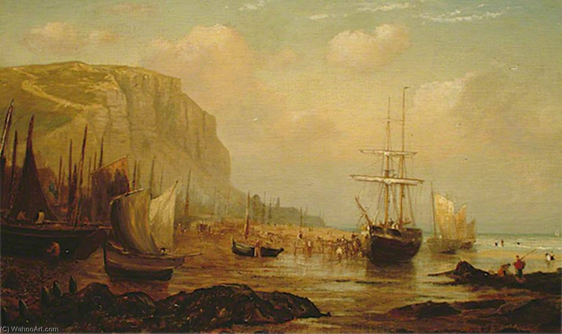 East Cliff, Hastings, East Sussex, and Fishing Vessels, 1860 by William Henry Borrow | Art Reproduction | WahooArt.com