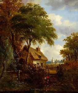 John Moore Of Ipswich - Landscape with a Girl at a Pool