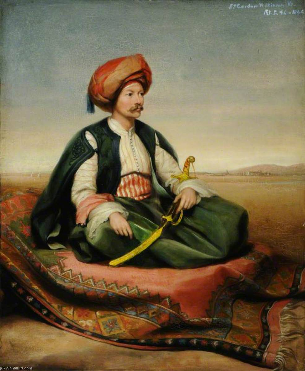 Sir John Gardner Wilkinson (1797–1875), Aged 46, in Turkish Dress, 1844 by Henry Wyndham Phillips | Museum Quality Reproductions | WahooArt.com